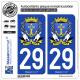 2 Autocollants plaque immatriculation Auto 29 Douarnenez - Armoiries