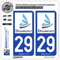 2 Autocollants plaque immatriculation Auto 29 Douarnenez - Ville