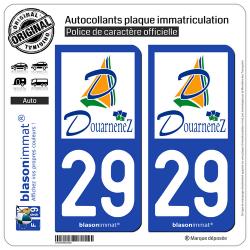 2 Autocollants plaque immatriculation Auto 29 Douarnenez - Agglo