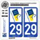 2 Autocollants plaque immatriculation Auto 29 Concarneau - Ville