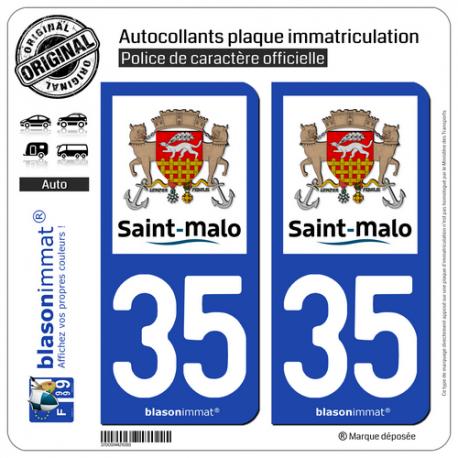 2 Autocollants plaque immatriculation Auto 35 Saint-Malo - Ville