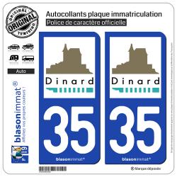 2 Autocollants plaque immatriculation Auto 35 Dinard - Ville