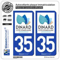 2 Autocollants plaque immatriculation Auto 35 Dinard - Tourisme