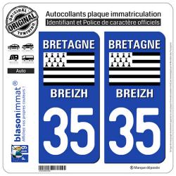 2 Autocollants plaque immatriculation Auto 35 Bretagne - LogoType