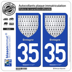 2 Autocollants plaque immatriculation Auto 35 Bretagne - Armoiries