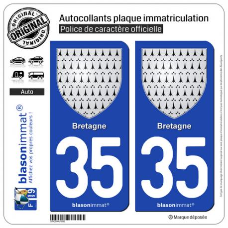 2 Autocollants plaque immatriculation Auto 35 Bretagne - Armoiries