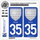 2 Autocollants plaque immatriculation Auto 35 Breizh - Armoiries