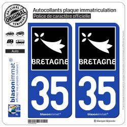 2 Autocollants plaque immatriculation Auto 35 Bretagne - Région