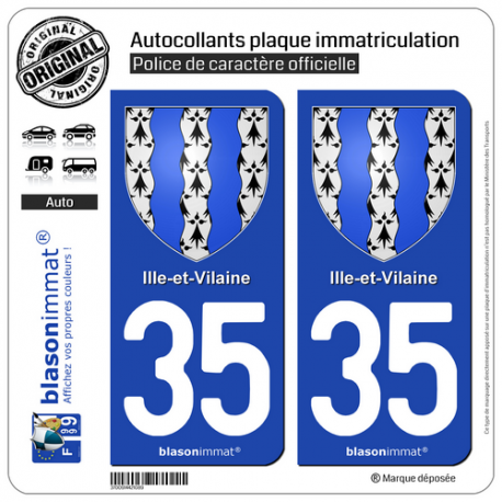 2 Autocollants plaque immatriculation Auto 35 Ille-et-Vilaine - Armoiries