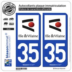 2 Autocollants plaque immatriculation Auto 35 Ille-et-Vilaine - Département
