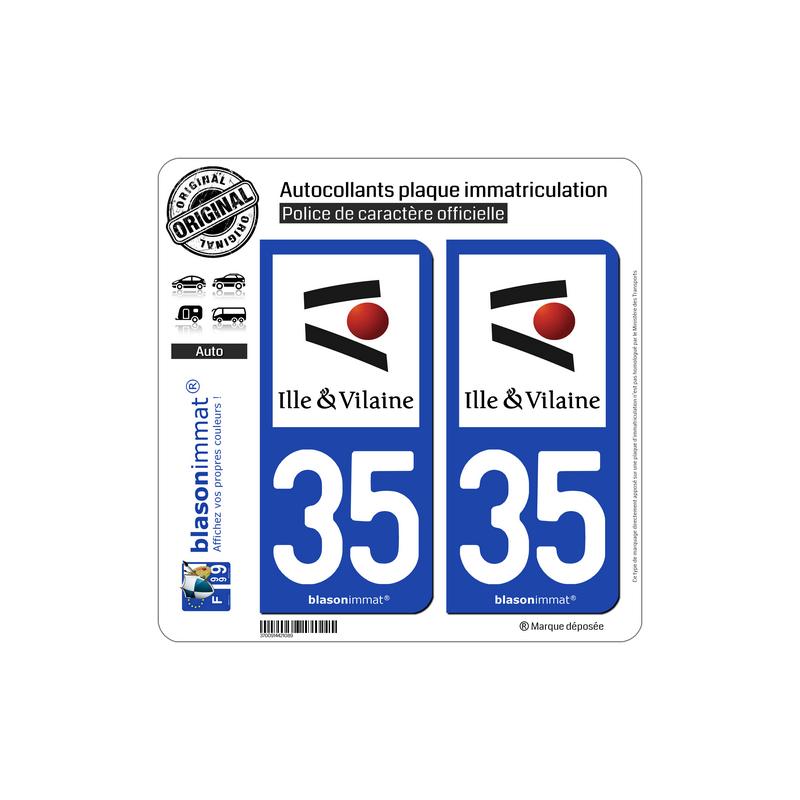 autocollant plaque immatriculation 35 ille et vilaine d partement