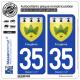 2 Autocollants plaque immatriculation Auto 35 Fougères - Armoiries