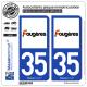 2 Autocollants plaque immatriculation Auto 35 Fougères - Ville