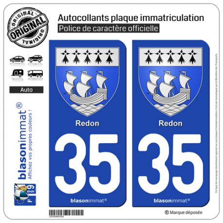 2 Autocollants plaque immatriculation Auto 35 Redon - Armoiries