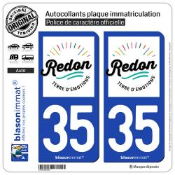 2 Autocollants plaque immatriculation Auto 35 Redon - Ville