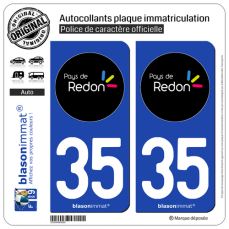 2 Autocollants plaque immatriculation Auto 35 Redon - Tourisme