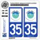 2 Autocollants plaque immatriculation Auto 35 Saint-Malo - Agglo