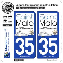 2 Autocollants plaque immatriculation Auto 35 Saint-Malo - Tourisme