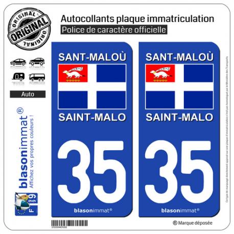 2 Autocollants plaque immatriculation Auto 35 Saint-Malo - Drapeau