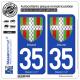 2 Autocollants plaque immatriculation Auto 35 Dinard - Armoiries
