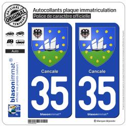 2 Autocollants plaque immatriculation Auto 35 Cancale - Armoiries