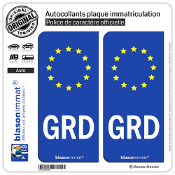 2 Autocollants plaque immatriculation Auto GRD Groland - Identifiant Européen