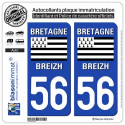 2 Autocollants plaque immatriculation Auto 56 Bretagne - LogoType