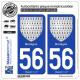 2 Autocollants plaque immatriculation Auto 56 Bretagne - Armoiries