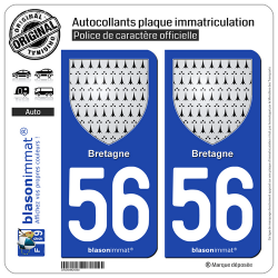 2 Autocollants plaque immatriculation Auto 56 Bretagne - Armoiries