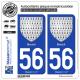2 Autocollants plaque immatriculation Auto 56 Breizh - Armoiries