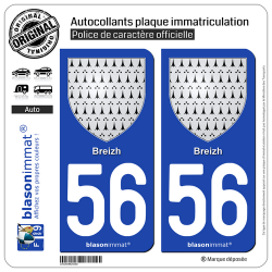 2 Autocollants plaque immatriculation Auto 56 Breizh - Armoiries