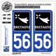 2 Autocollants plaque immatriculation Auto 56 Bretagne - Région