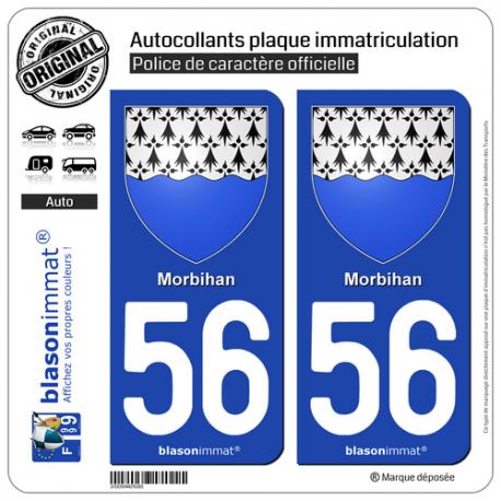 2 Autocollants plaque immatriculation Auto 56 Morbihan - Armoiries