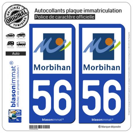 2 Autocollants plaque immatriculation Auto 56 Morbihan - Département