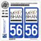 2 Autocollants plaque immatriculation Auto 56 Morbihan - Tourisme