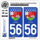 2 Autocollants plaque immatriculation Auto 56100 Lorient - Armoiries