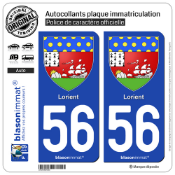 2 Autocollants plaque immatriculation Auto 56100 Lorient - Armoiries