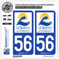2 Autocollants plaque immatriculation Auto 56 Lorient - Ville