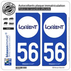 2 Autocollants plaque immatriculation Auto 56 Lorient - Agglo