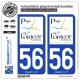 2 Autocollants plaque immatriculation Auto 56 Lorient - Tourisme