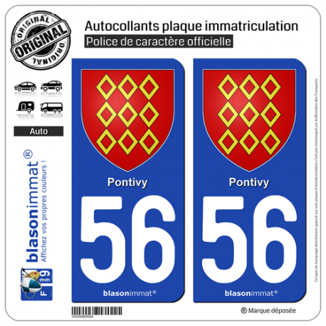 2 Autocollants plaque immatriculation Auto 56 Pontivy - Armoiries