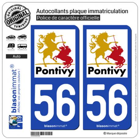 2 Autocollants plaque immatriculation Auto 56 Pontivy - Tourisme