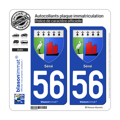 2 Autocollants plaque immatriculation Auto 56 Séné - Armoiries