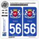 2 Autocollants plaque immatriculation Auto 56 Vannes - Armoiries
