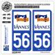2 Autocollants plaque immatriculation Auto 56 Vannes - Ville