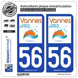 2 Autocollants plaque immatriculation Auto 56 Vannes - Agglo