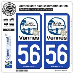 2 Autocollants plaque immatriculation Auto 56 Vannes - Tourisme