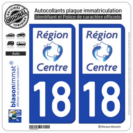 2 Autocollants plaque immatriculation Auto 18 Centre-Val de Loire - LogoType