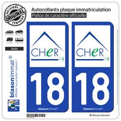 2 Autocollants plaque immatriculation Auto 18 Cher - Département
