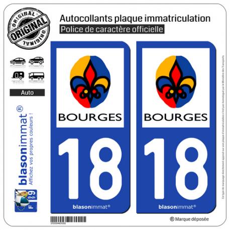 2 Autocollants plaque immatriculation Auto 18 Bourges - Ville